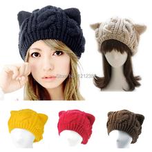Fashion Lady Girls Winter Warm Knitting Wool Cat Ear Beanie Ski Hat Cap HB88