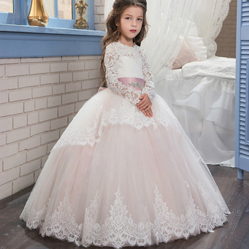 Boutique Wholesale Girls Ball Gown Princess Dress Wedding Party Girl Frocks Long Sleeve Lace Tulle Bridesmaid Dresses Kids Gown