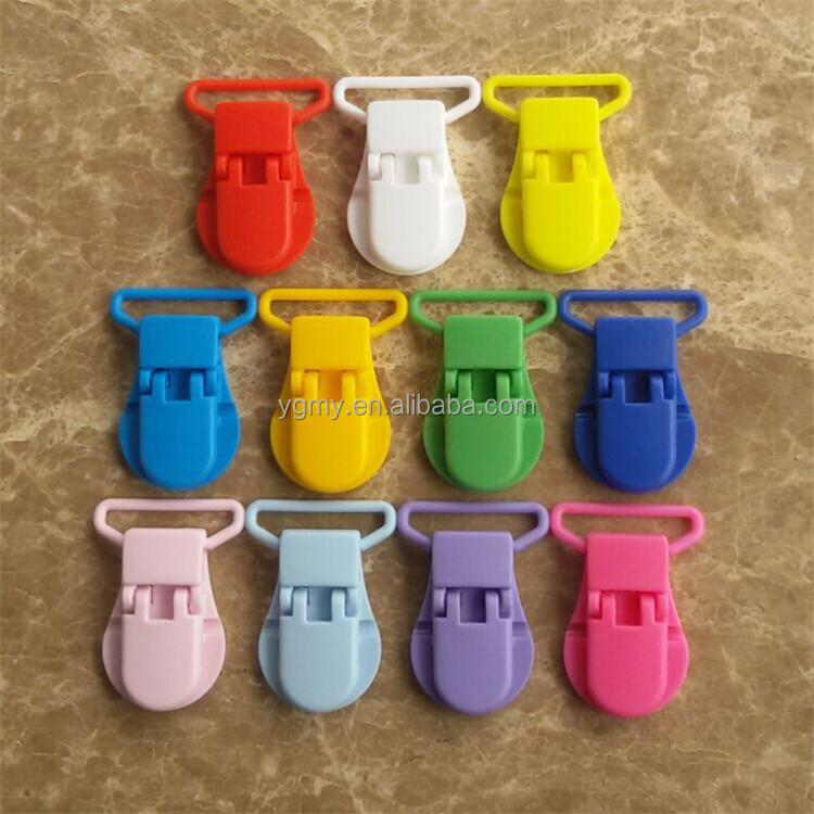 25mm C Shape Kam Dummy Plastic Pacifier Clip Chain Alligator Clip suspender clips Mixed 11 Colors <span style=