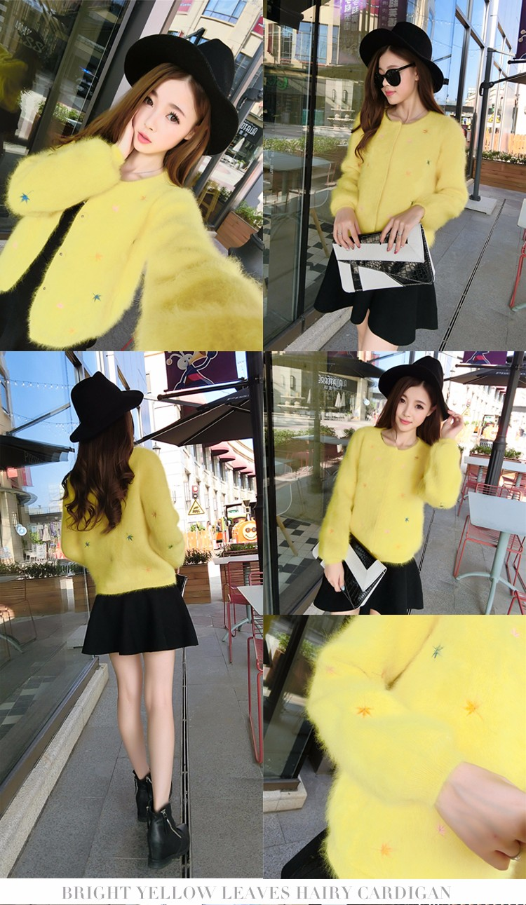 f3ed684df363d2 2016New autumn and winter long-haired Mink Cashmere round neck Slim female  Fashion warm thickening Bubble sleeve Mink Cardigan - us294