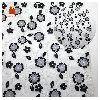 double layers 3D white/black flower embroidery mesh fabric for children garment