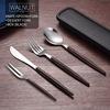 Walnut- knife, fork, spoon, dessert fork, box(black)