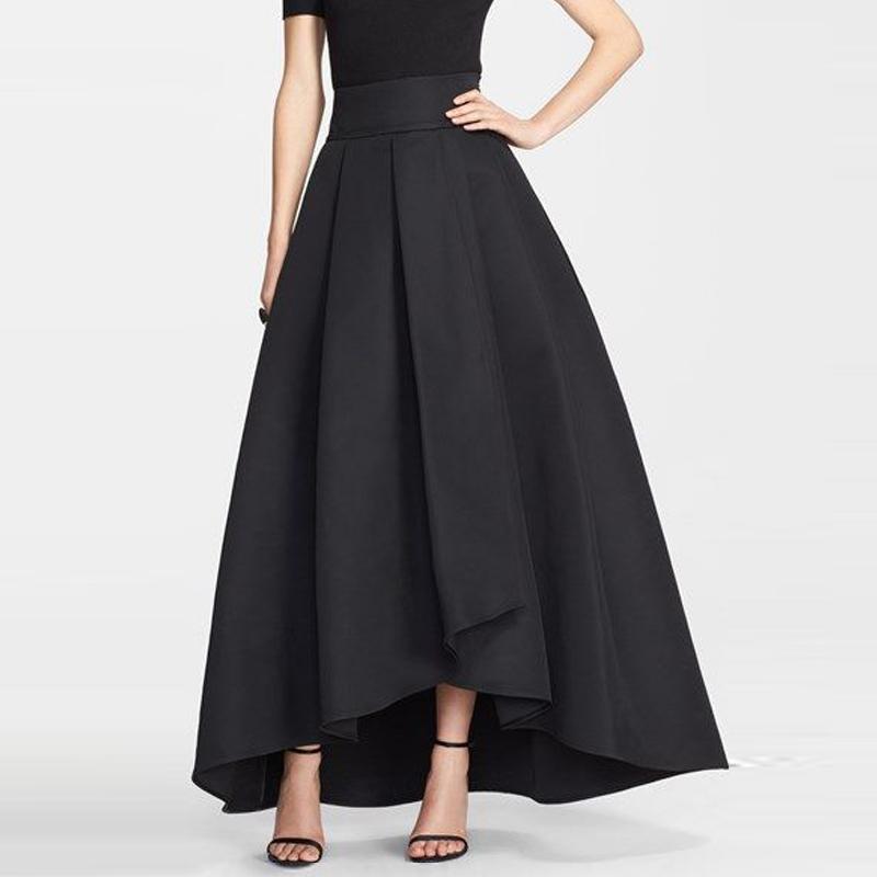 Black Satin Long Skirt 113