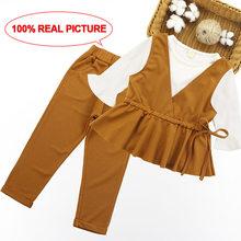 Комплект одежды для девочек, рубашка в стиле пэчворк, платье + штаны в полоску Одежда для детей весенне-Осенняя детская одежда для подростко...(Китай)