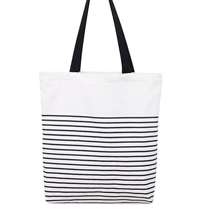 Black and white striped cotton tote bag
