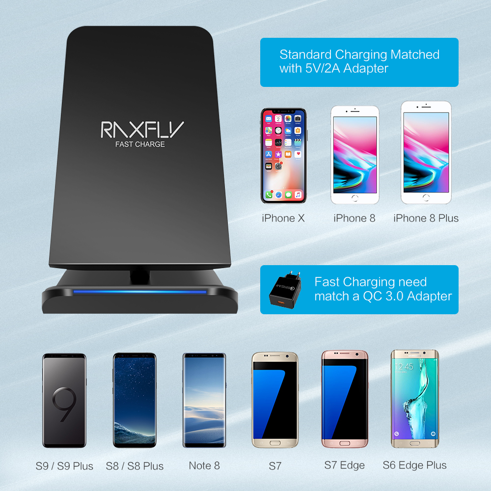 Большой Бесплатная доставка RAXFLY Led свет мобильный телефон Быстрая Зарядка Qi Беспроводное зарядное устройство Подставка для iPhone