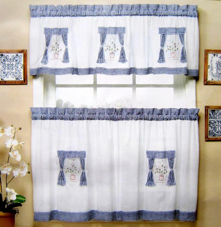 Kitchen Curtain Fabric: American Style Fabric Embroidered Kitchen Curtain Set Semi