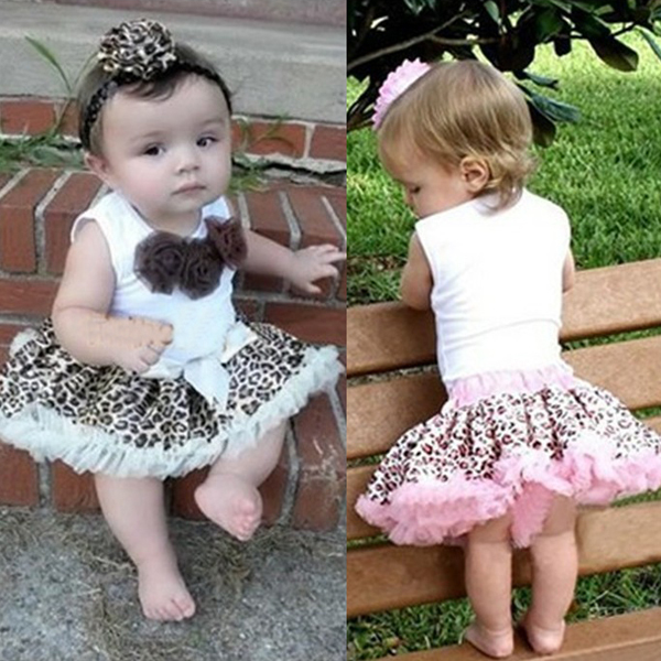 Baby 2Pcs Girl Kids Flowers Top Skirt Sets Leopard Tutu Dress 1 4 Years XL039ZQ1