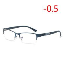 0-0,5-1-1,5-2-2,5 до-6 полуметаллическая оправа Близорукие Очки Унисекс Близорукость Смола прозрачное зеркало близорукие диоптрийные очки(Китай)
