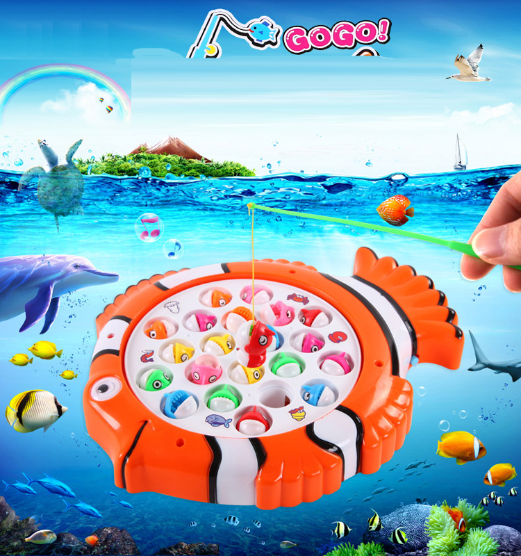 Cute Electric Rotating Magnetic Magnet Fish Fishing Toys Kid Children Educational Learning Toy Game Fishing toy
