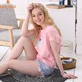 Summer Brand Girls 2PCs Cotton Lounge Pajama Short Sets Fashion Floral Printed Women O neck Lovely