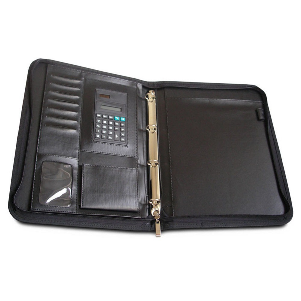 Zippered A4 Pad Folio File Folder 4 Ring Binder With Pen