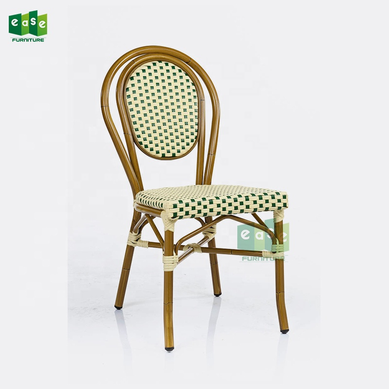 (E6060) Stackable cafe restaurant furniture french bistro chairs rattan