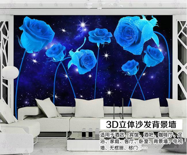 Large Blue Rose Flower Wall Mural Wallpaper For Living