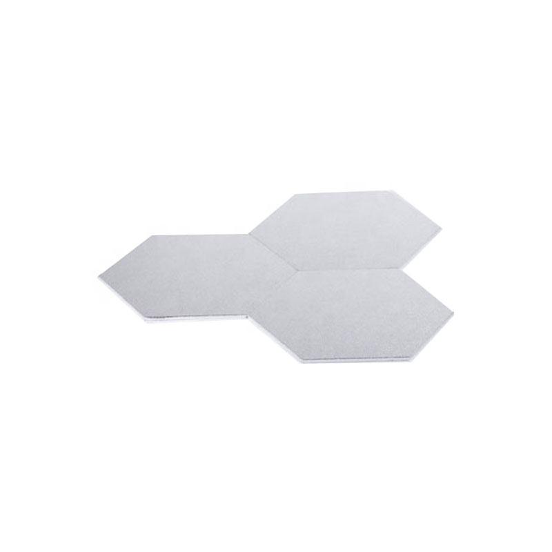High quality hexagon shape silver wood cake base for wedding