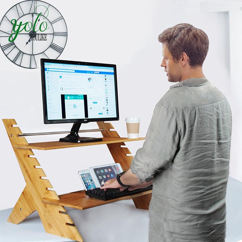 Бамбуковый Регулируемый стоячий стол с высотой стоя с монитором