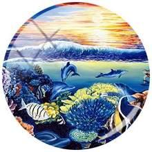 Круглая стеклянная картина JWEIJIAO Dolphin Blue Sea, кабошон для самостоятельного изготовления ювелирных изделий, подвесной браслет, ожерелье, аксес...(Китай)