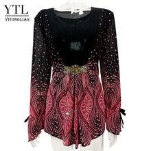 YTL большой женский цветочный принт в стиле пэчворк с рукавами-фонариками, винтажный стиль кимоно, тонкие большие украшения для футболки, блу...(Китай)