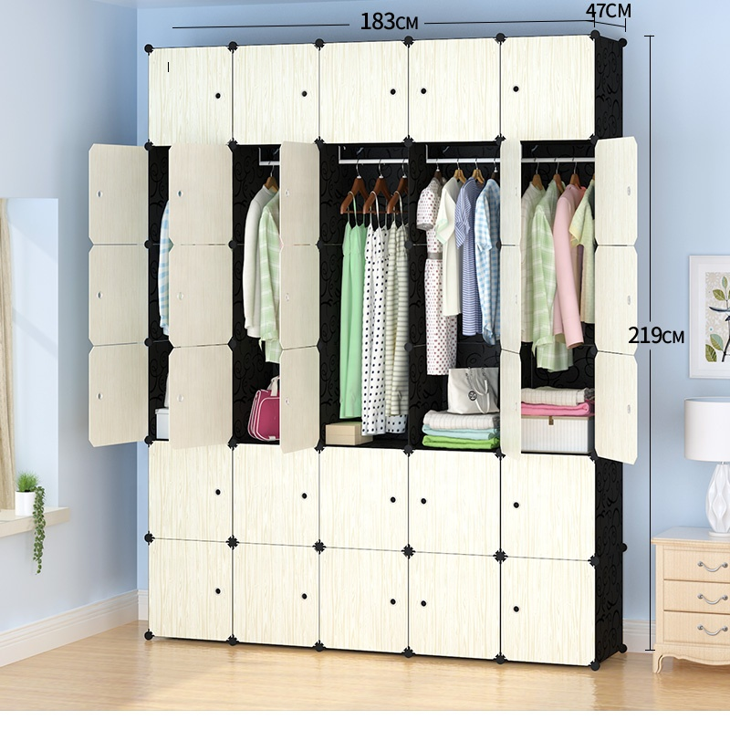 Kids assemble plastic portable wardrobe closet organizer