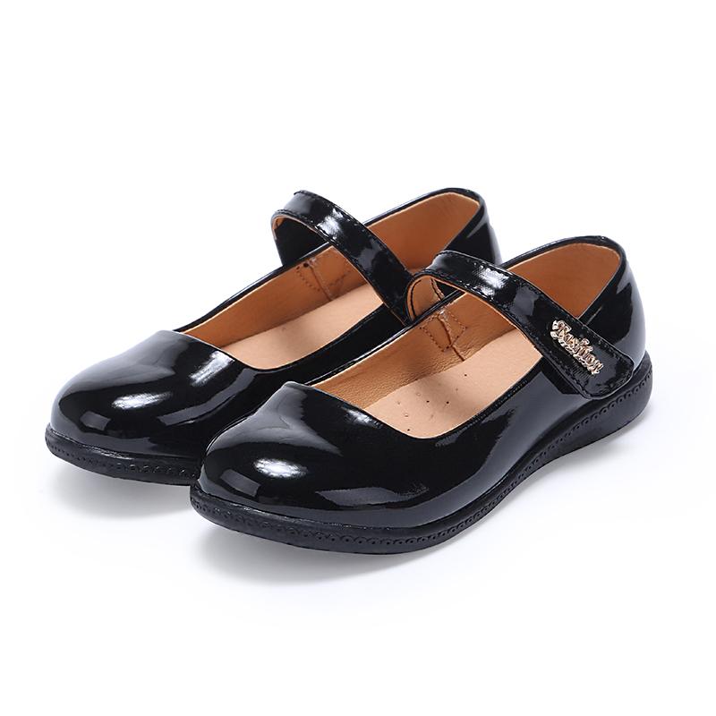 Детская черная кожаная школьная обувь для девочек, повседневная обувь
