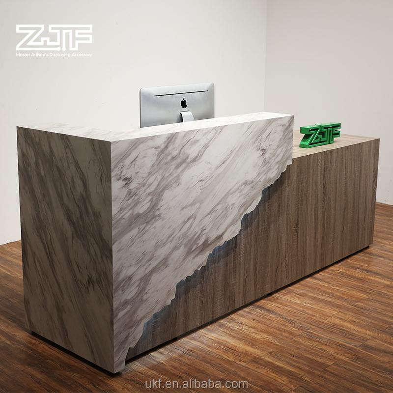 2018 new arrival front LED reception counter lobby grey imitation stone reception desk