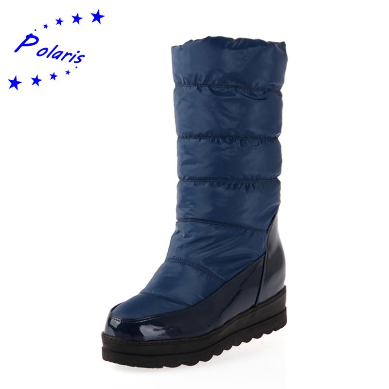 Polaris Plus Size 34 42 Snow Boots Wedges Heel Round Toe
