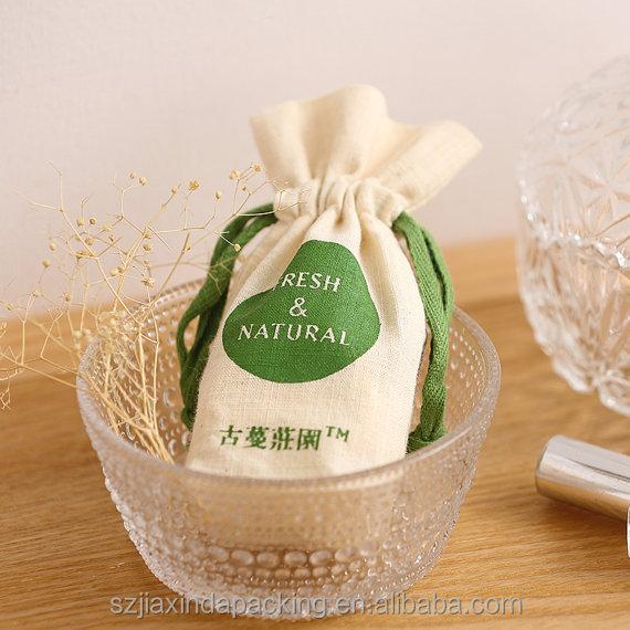 Индивидуальная маленькая хлопковая муслиновая сумка на шнурке