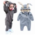 Wholesale Newborn Baby Girls Boys Cotton knitted Long Sleeve Jumpsuit Rabbit ear baby Clothes Romper with zipper