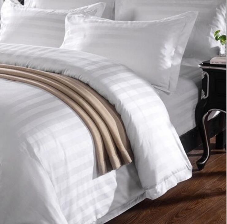 Hotel polycotton fabric satin striped 1cm 3cm fabric roll