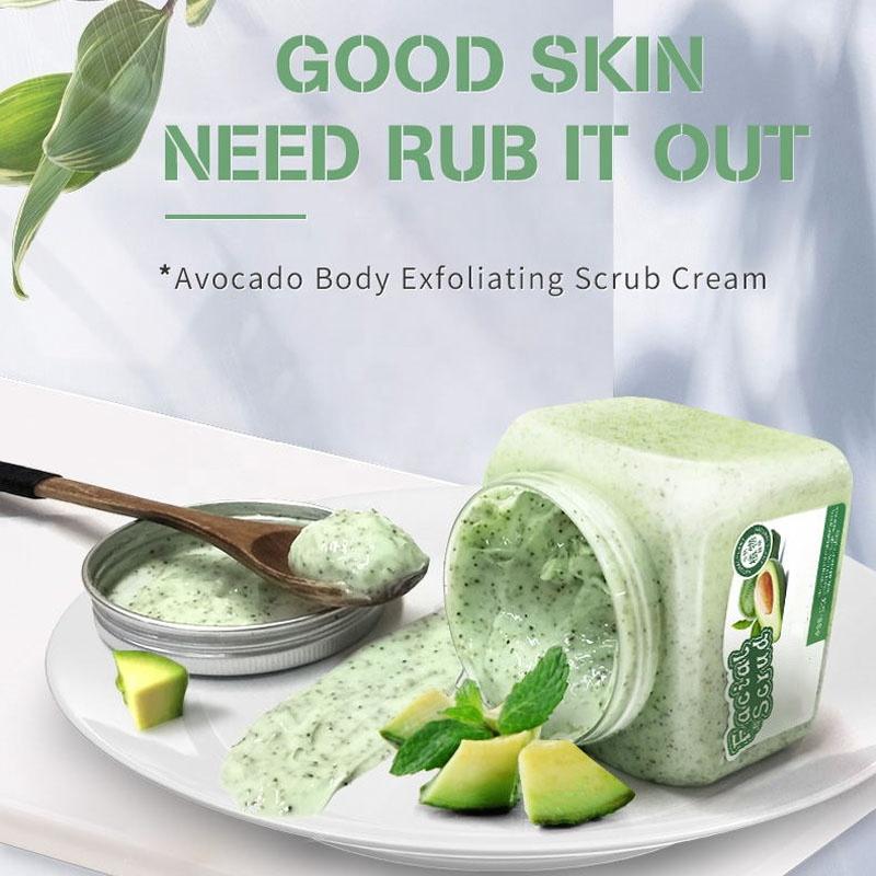 OEM 100% натуральное масло авокадо Ши, фруктовый скраб для тела, крем для отбеливания, увлажнения и отшелушивания, уход за кожей для мужчин и женщин