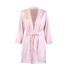 Сексуальные атласные халаты из искусственного шелка с кружевными вставками, женская одежда для сна, однотонный кардиган с поясом, халат, же...(Китай)
