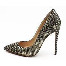 Новые Брендовые женские модельные туфли из черной змеиной кожи на тонком высоком каблуке, вечерние туфли-лодочки знаменитостей, женские св...(Китай)