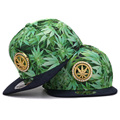 Fancy adult full leaves printing weed hip hop hats metal decoration adult sport flat bill weed