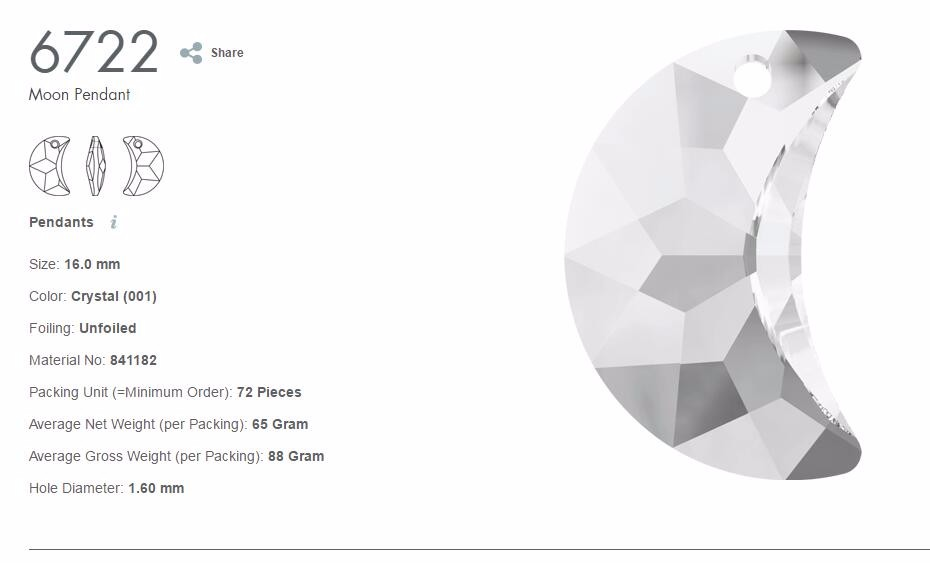(1 piece) 100% Original Crystal from Swarovski 6722 Moon pendant made in  Austria loose beads rhinestone for DIY jewelry making
