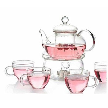 high quality COE 3.3 heat resisting colored crystal tea set price for tea ,coffee with designed logo