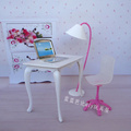 Free Shipping doll play house doll furniture desk lamp laptop chair accessories for Barbie Doll