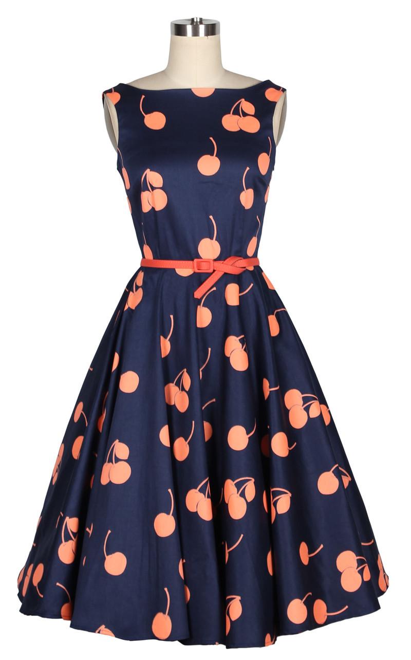 cherry dress vintage 1950s style dark blue orange cherry print pin up rockabilly dresses 50s. Black Bedroom Furniture Sets. Home Design Ideas