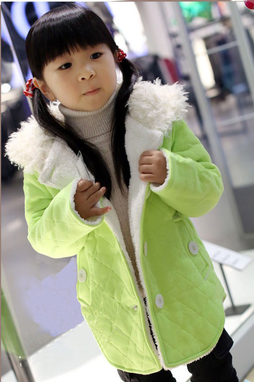 2 10T baby clothing girls colorful thick warm winter jackets kids fleece hooded coat children cotton