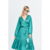 2019 Latest Design Polyester Satin Dress Green Causal Long Lantern Sleeve Midi Dress