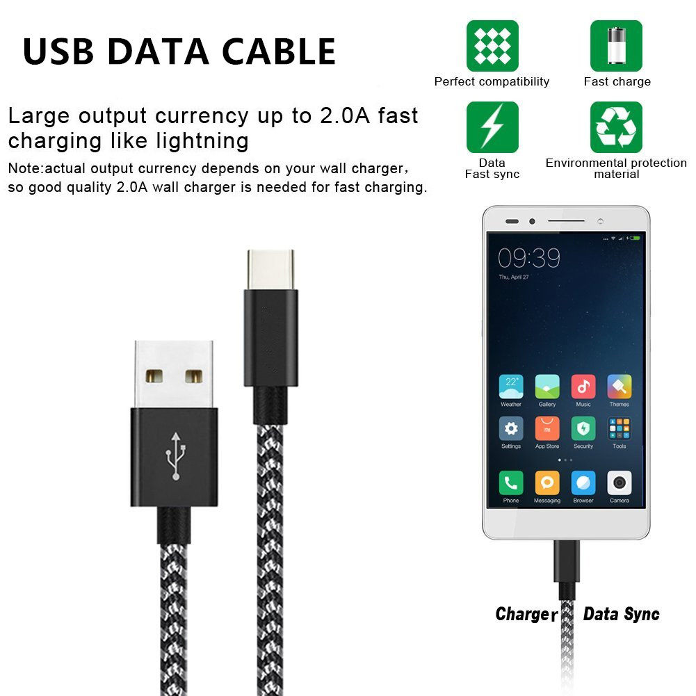 Type C Cable, USB C to USB A Charger Nylon Braided Fast Charging Cord for micro cable