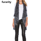 SF0056 Top Quality Slim Fur Fashion Colors Knitted Rabbit Fur Vests/ Women Winter Vest