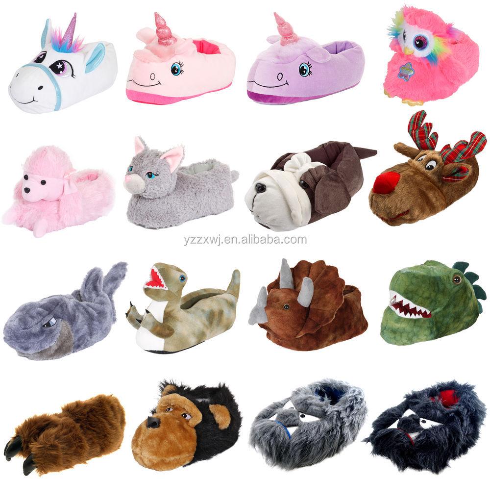 Girls Boys Kids 3D Novelty Animal House Slippers