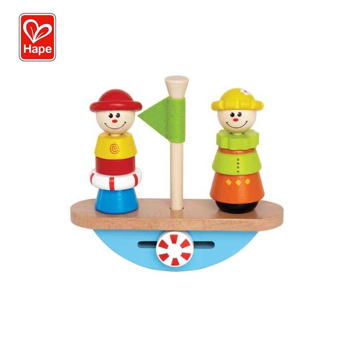 Дошкольная образовательная Штабелируемая лодка для пиратского баланса, деревянная балансировочная игра