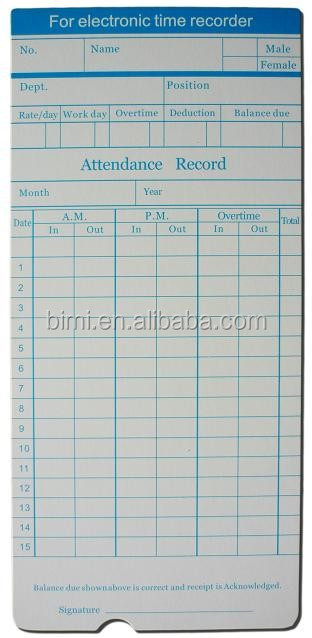 for time recorder use time cards/ punch paper cards
