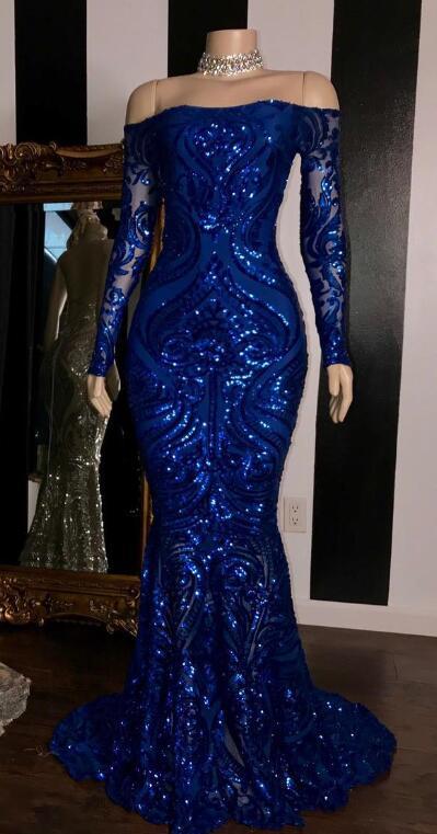 Блестящие пайетки Серебристые африканские платья для выпускного вечера русалки 2020 Королевский синий длинный рукав выпускное официальное ...(Китай)