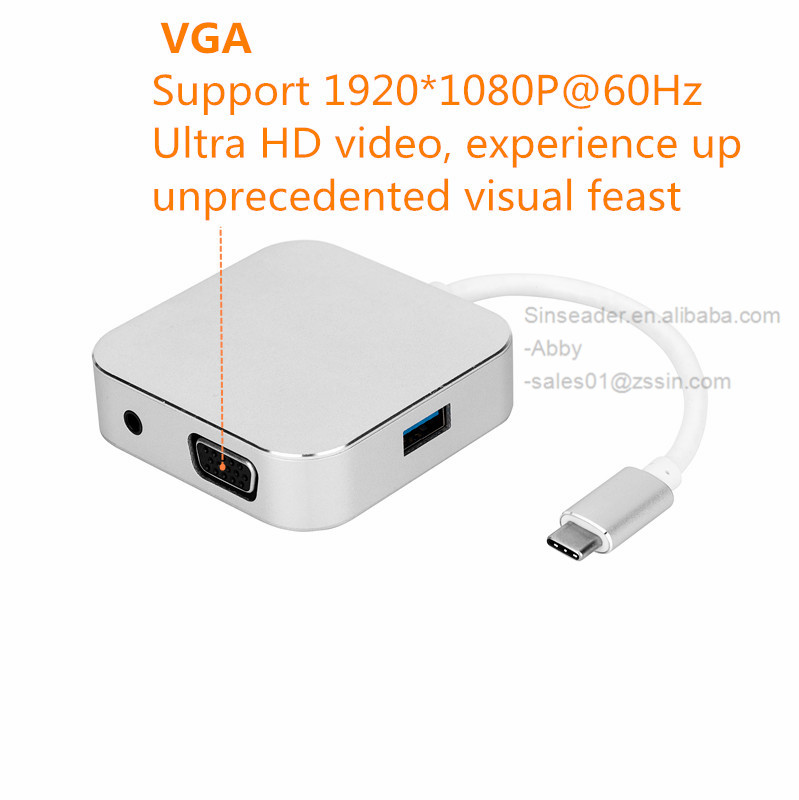USB C to HDMI+VGA+U3+3.5MM hub high speed 5Gbps data transfer support 4K 30Hz 4 in 1 converter