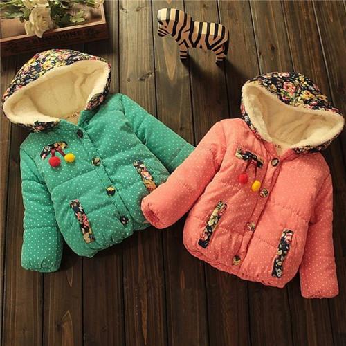 Узор в горошек цветок cherry девочки зима тёплый преппи куртка дети девочки пиджаки пальто свитера KT522R