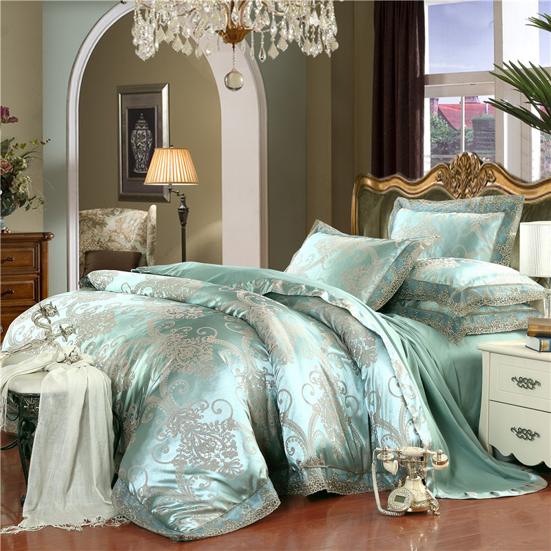 European Style Elegant Bedclothes 4pcs Silk Cotton Green