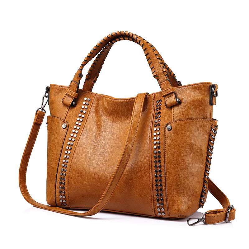 REALER бренд стильная женская сумка в руках высокого качества с короткими ручками, большая ручная сумка с заклепками, женские сумки через плеч...(Китай)