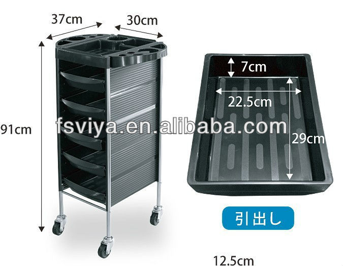 RC10033 Multifunctional Salon wooden tools storage trolley tools organizer with wheels